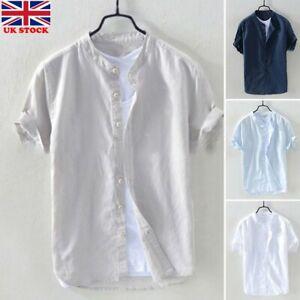 Mens Linen Casual Shirts Tee Collarless Grandad Button Down Short Sleeve Tops