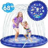 """68"""" """"Kids Inflatable Water Spray Pad Sprinkler Mat Splash Play Pool Xmas Gift"""