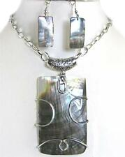 Large Rectangle Abalone Shell Silver Linked Chain Pendant Earrings Necklace Set