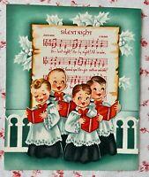 Vintage 1950s Pop Up, Die Cut Christmas Greeting Card Cute Choir Boys Caroling