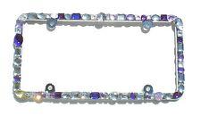 Chunky Mix Purple w/ AB and Clear Crystal Rhinestone License Frame 4 Screw Holes