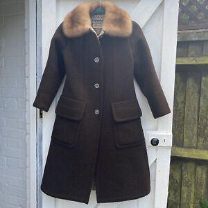 Vintage Hermes Sport Brown Wool Faux Fur Trim  Coat Chest 36 Medium