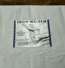 VTG Mid Century CANNON MILLS SNOW MAIDEN White Flat Sheets (2) NWT Twin 72x108