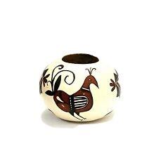 Native American Pacific Northwest Painted Gourd Vase w/ bird