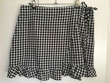 Subtitled Gingham Wrap Skirt Ruffle Size M Summer Casual