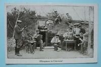 AK Mittagspause i Unterstand 1914-18 Essen Trinken Akkordeon Zither Musik 1.WK
