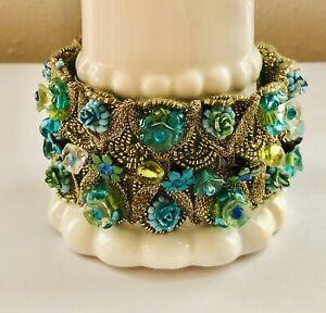 MICHAL NEGRIN Aqua Blue Green Enamel Crystal Gold Crochet Woven Bracelet