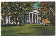 STATE CAPITOL Building in  Richmond VA Vintage Postcard Virginia Linen Unused