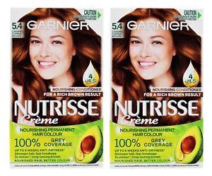 2 X GARNIER NUTRISSE CREME PERMANENT HAIR COLOUR 5.4 CARAMEL COPPER BROWN