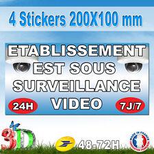 """4 Stickers 200X100 mm """" Etablissement est sous vide surveillance """""""