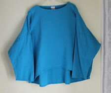 OH MY GAUZE - Turquoise Hi-Low Boxy Cotton Lagenlook Artsy Shirt Top S M L (0/1)