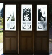 *Set of 3 Antique French Etched Glass Doors Frosted Stained Glass