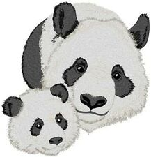 """Panda Momma & Baby Wildlife Embroidered Patch 4.9"""" x 5.1"""" Iron on or sew on"""