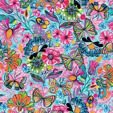 Fabric Flowers Magic Butterflies Digital 3 Wishes on White Cotton by 1/4 yard