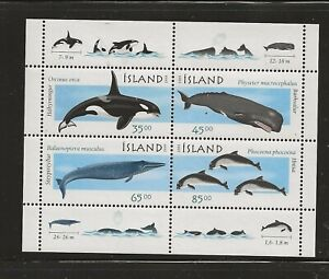ICELAND Sc 876A NH issue of 1999 - MINISHEET - WHALES