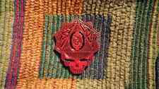Dead Head Red & Black Metal Sacred G Geometry Skull Enamel Lapel Hat Pin