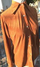 Vintage 1970s Von Dutch Suede Effect Brushed Polyester Shirt Size S Small Brown