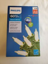 Philips 60 LED Warm White Mini Lights Green Wire Indoor/Outdoor NIB