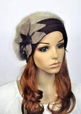 JM32 Rabbit Fur & Wool Women's Winter Hat Beanie Cap Cute Flowers COFFEE BRIM