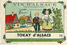 Etiquette de vin d'Alsace Tokay Cuvée Hansi Illustrateur Alsacienne Alsace wine