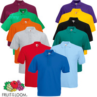 Fruit Of The Loom MEN'S PIQUE POLO SHIRT GOLF SHORT SLEEVE 15 COLOURS S-5XL NEW