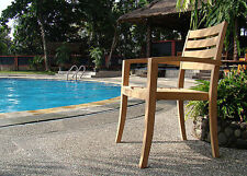 Travota Grade-A Teak Wood Dining Stacking Arm Chair Outdoor Garden Furniture