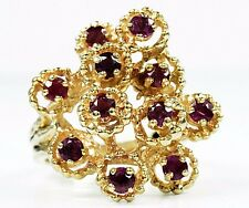 VTG Women's 14k Solid Yellow Gold Natural Mined Ruby Cluster Ring