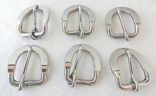 """Lot of 6 Flat Dee Buckles Horse Headstall Stainless Steel 1"""" Weaver Leather Tack"""