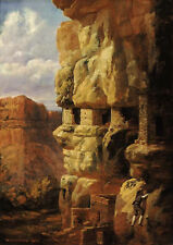 Cliff Houses, Rio Mancos, 1875  by William H Holmes   Giclee Canvas Print Repro