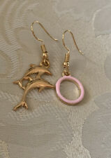 Handmade Fashion Jewelry Charms Gold Dainty Earring Dolphins Pink Hoop Gifts