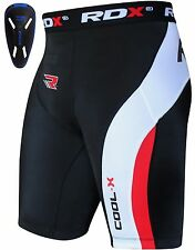 RDX Thermal Compression Flex Shorts & Pro Groin Cup Guard MMA Muay Thai Men Rugb