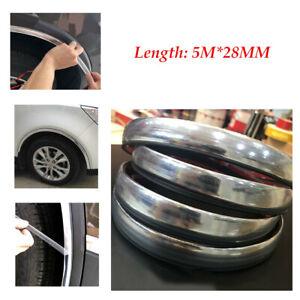 5M Silver Adjusted Car Wheel Rubber Eyebrow Protector Lip Arch Trim Fender Strip