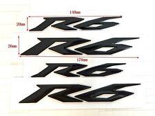 4 Pcs R6 Raised 3D Tank Decal For Yamaha YZF600 R6 Emblem Black Fairing Sticker