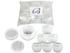 6 Pieces 50 Gram/50ml White Round Frosted Sample Jars with Inner Liner and Lid