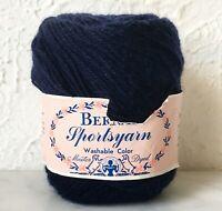 Vintage Bernat Sportsyarn Virgin Wool Worsted Yarn - 1 Skein Dark Navy #3672