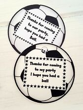 PERSONALISED FOOTBALL SHAPED, FOOTBALL THEMED FAVOUR TAGS - PACK OF 12 - GIFTS