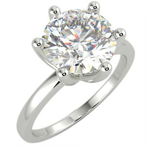 2.21 Ct Round Cut SI3/D Solitaire Diamond Engagement Ring 14K White Gold
