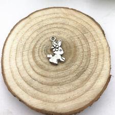 8pcs Easter Bunny Charm Tibetan Silver Tone Pendant  Charms Pendants 18x10mm