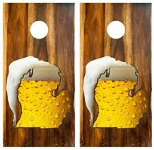 State of Michigan Frosty Beer Mug Cornhole Board Wraps Free Lamination #3520