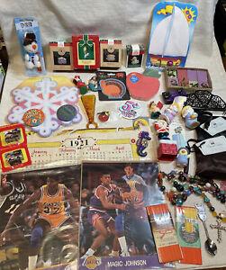 Junk drawer Lot W Sports Collectibles Miniatures Ornaments Jewelry Pins Hallmark