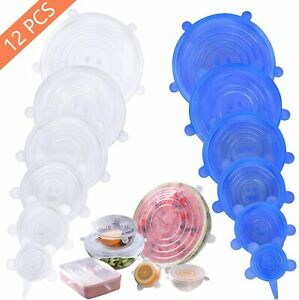 6/12 Pcs Reusable Silicone Stretch Food Bowl Wraps Storage Lids Cover FDA LFGB