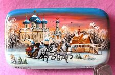 Genuine hand pained LACQUER Box Suzdal Kremlin Winter TROIKA HORSES Fedoskino