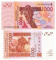SENEGAL 1000 West African Francs UNC Banknote (2017) P-715Kq Paper Money