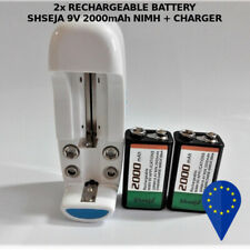 2x BATTERY SHSEJA 9V 2000mAh HIMH RECHARGEABLE BATTERIA + CHARGER EURO PLUG