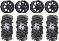 """Raceline Hostage 14"""" Black Wheels 27"""" Moto MTC Tires Honda Pioneer 1000 / Talon"""