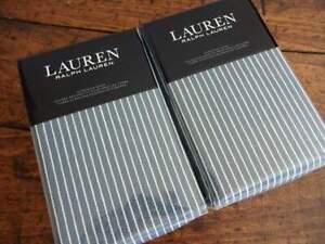 RALPH LAUREN HANAH YARN DYED Cotton Linen BLUE Cream STRIPE 2 EURO SHAMS