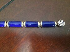 "Beautiful 14K Yellow Gold Lapis Bracelet - 8.5"" Length"