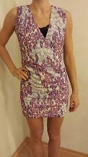 Damen Kleid Edc by Esprit Minikleid Weiß Lila Rosa Tailliert Größe 32 XXS 34 Neu