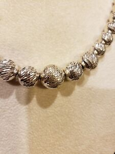 """Sterling Silver 18"""" DIAMOND-CUT GRADUATED BEAD STRAND Necklace, 31.8 Grams!"""