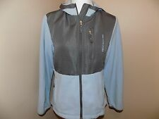 Free Country Women's Hooded Jacket Fleece Size M Blue Gray Zip Front